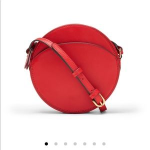 Red Italian Leather Circle Crossbody Bag